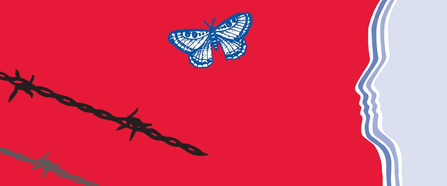 Banner image, Red background, blue silhouette on the right, a butterfly in the middle and  and two chains in the lower left.